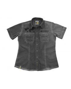 "Short sleeved ""1990"" blouse women, grey, size L"